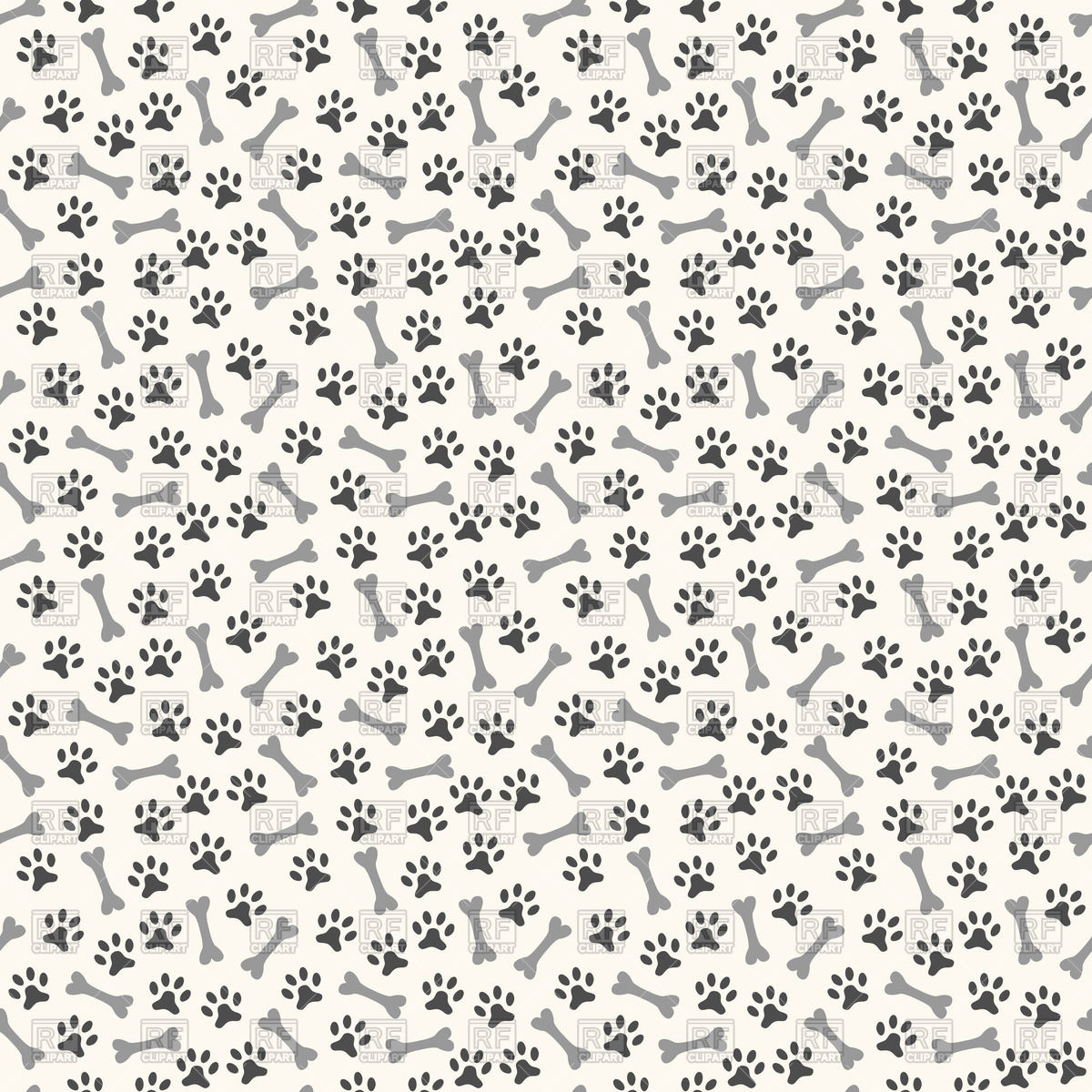 Animal seamless pattern with print of paws and bones Vector Image.