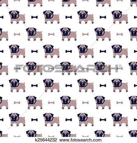 Clipart of pug and bone pattern k25644232.