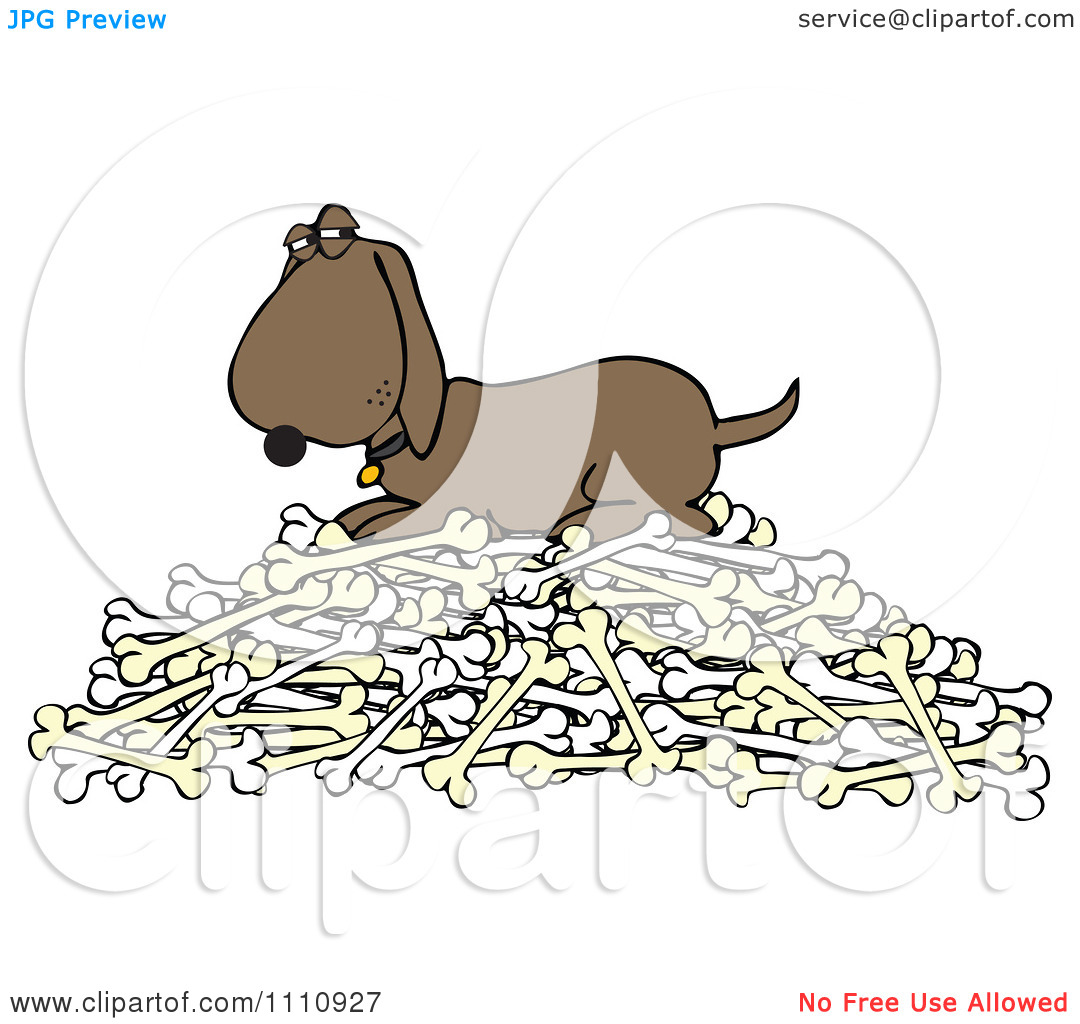 Clipart Hound Dog Protecting His Pile Of Bones.