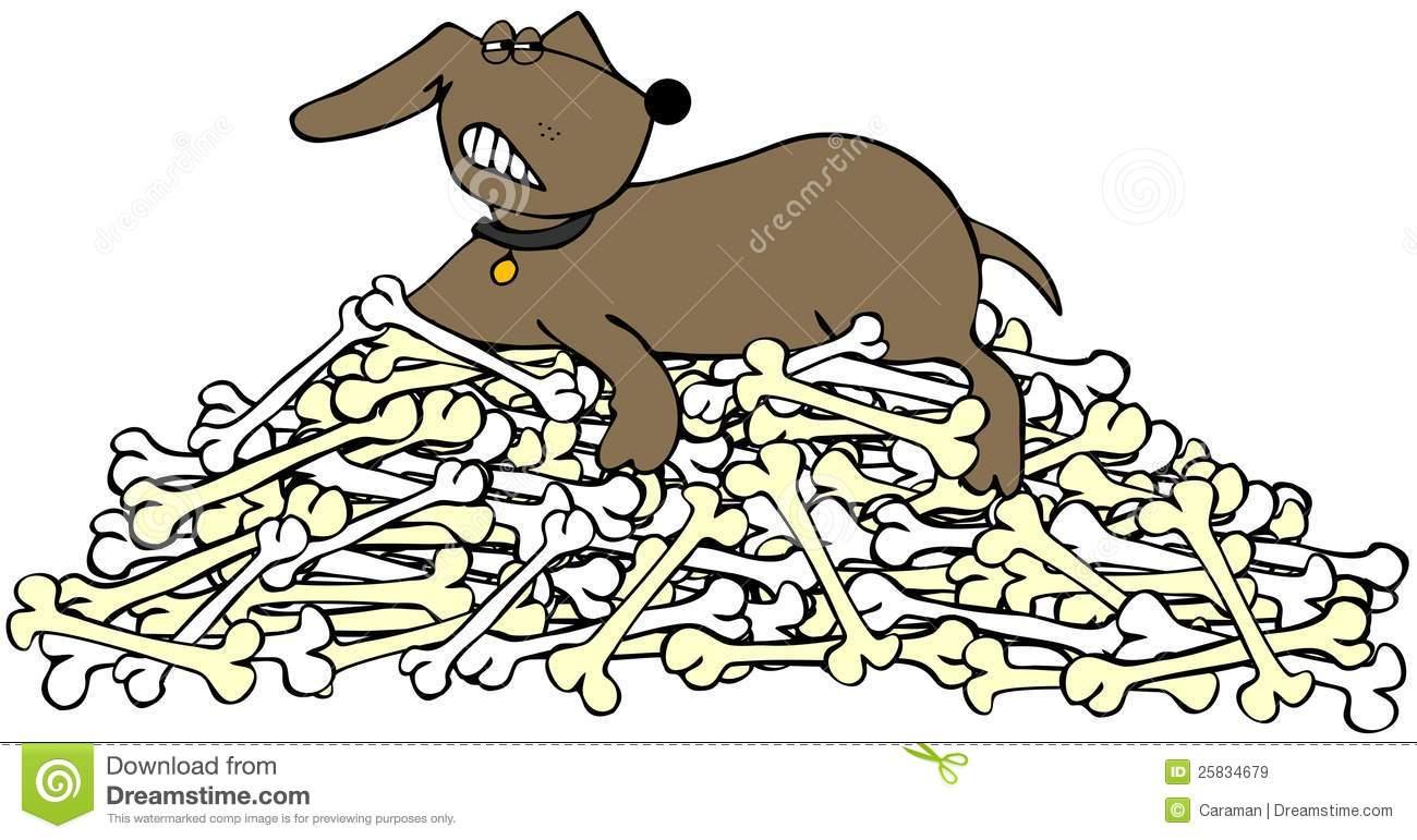 Pile of dog bones clipart.