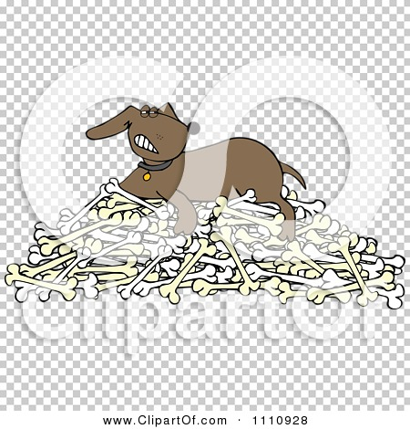 Clipart Hound Dog Guarding His Pile Of Bones.