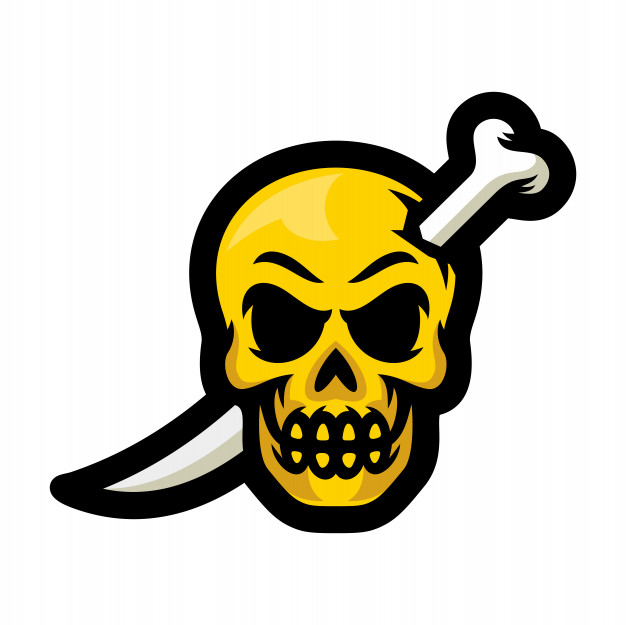 Skull with bones sword mascot logo vector illustration.