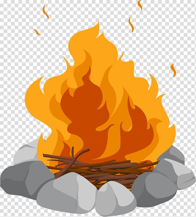 Campfire illustration, Campfire Cartoon Bonfire , Camp firewood heap.