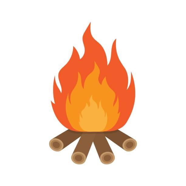 Bonfire clipart wood burning pencil and in color bonfire.