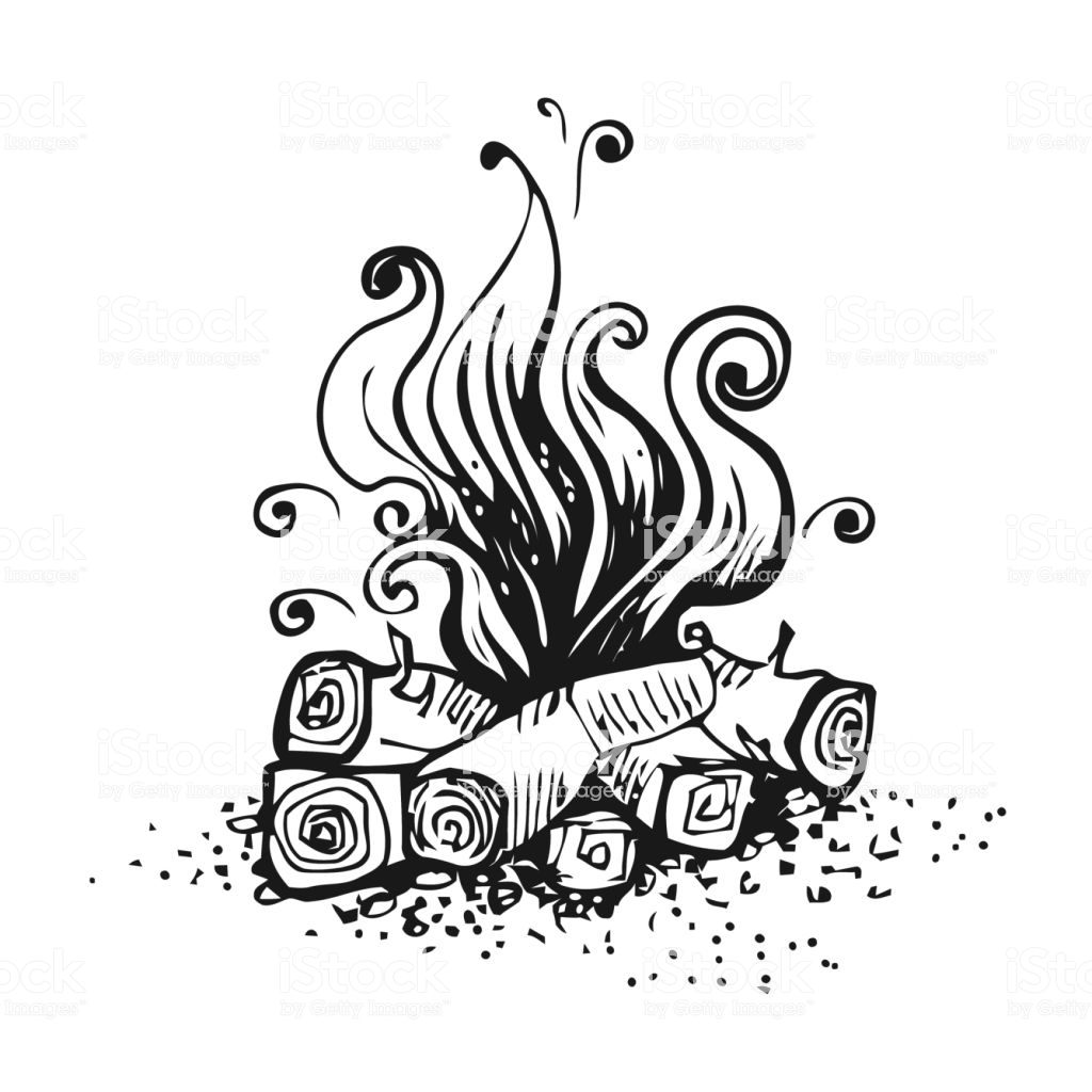 Campfire Fire Over Wood Logs Black And White Graphic Vector.