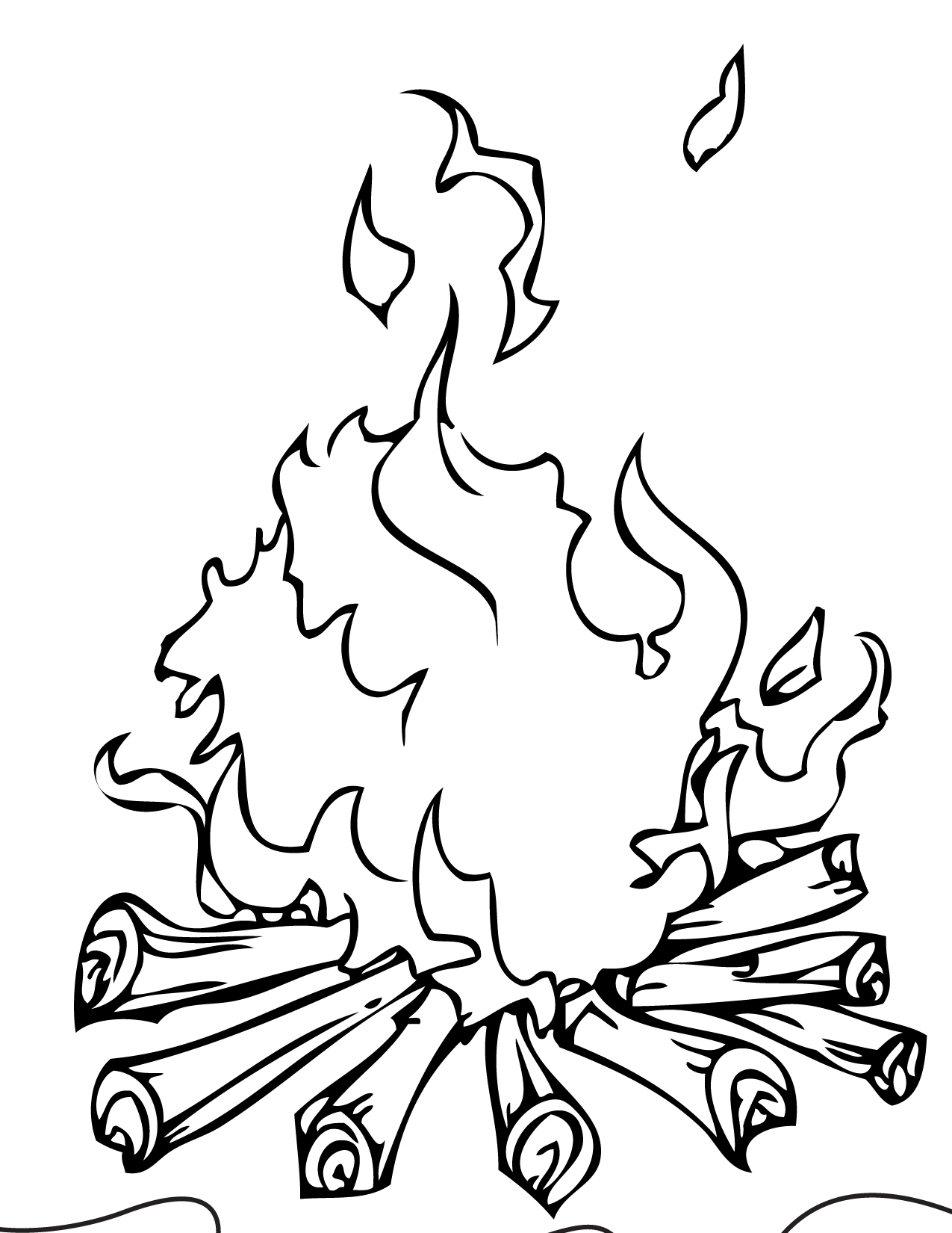 Coloring Cartoon Bonfire with Sausage, bonfire clip art black and.