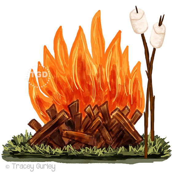 Campfire and Marshmallow Clip Art Original by TraceyGurleyDesigns.