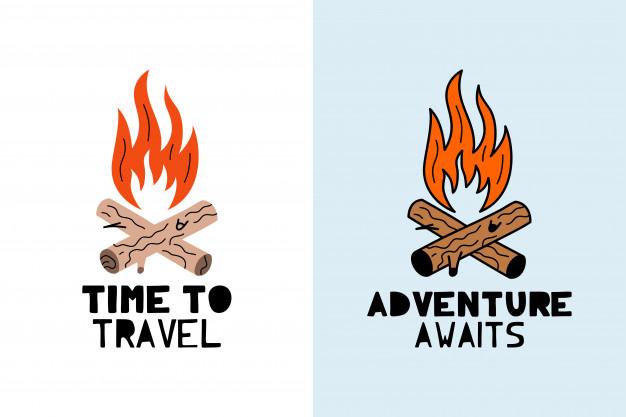 Adventure awaits bonfire logo Vector.