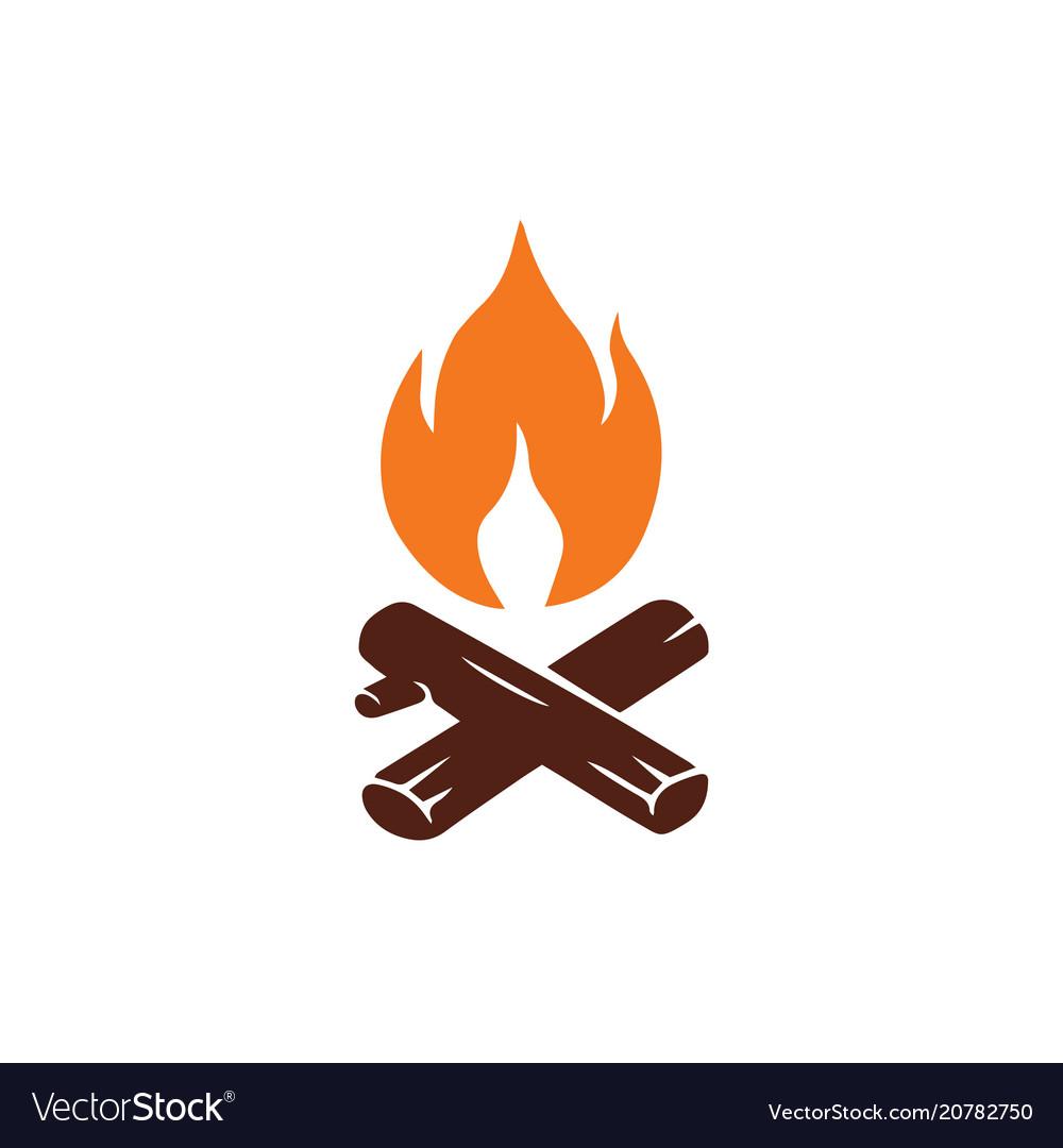 Campfire logo for mountain camping adventure.