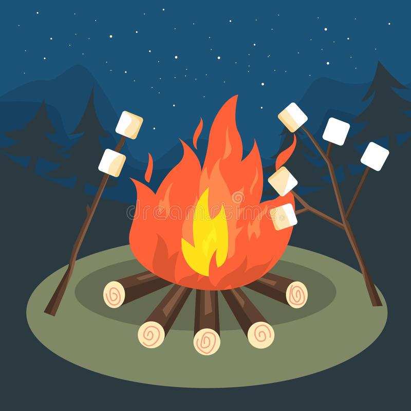 Bonfire Party Stock Illustrations.