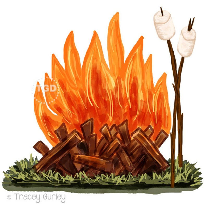 Campfire and Marshmallow Clip Art.