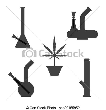 Clipart Vector of Marijuana equipment. Set of different bongs with.
