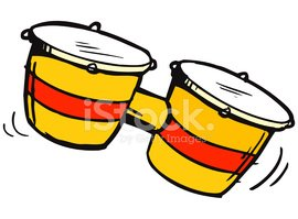 Editable Cartoon Illustration Set of Bongos Stock Vector.
