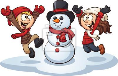 Papiers peints: Dessin animé enfants construisant un bonhomme de neige.  illustration.