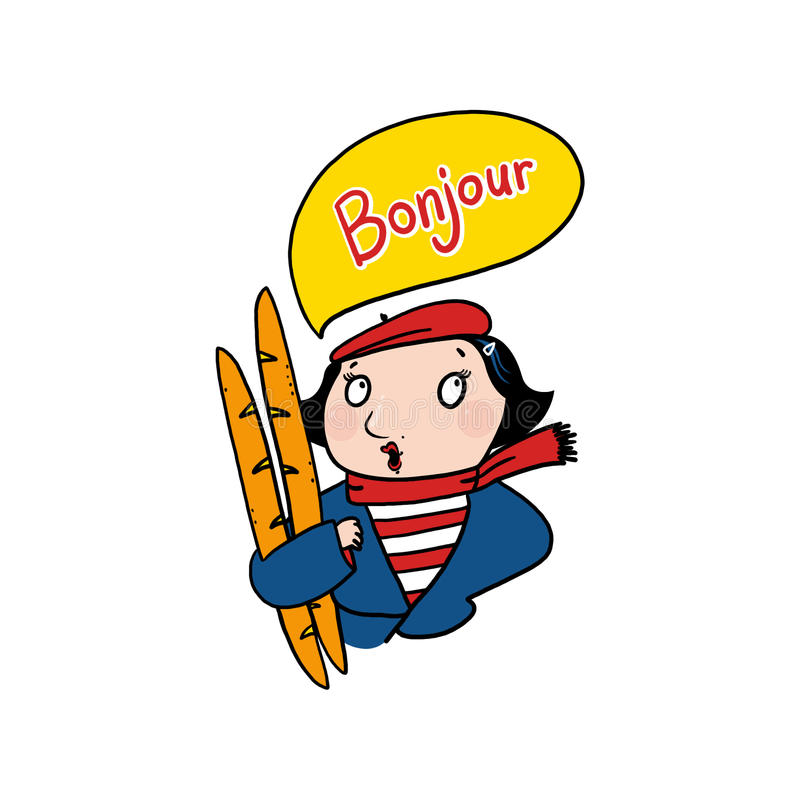 French Bonjour Stock Illustrations.