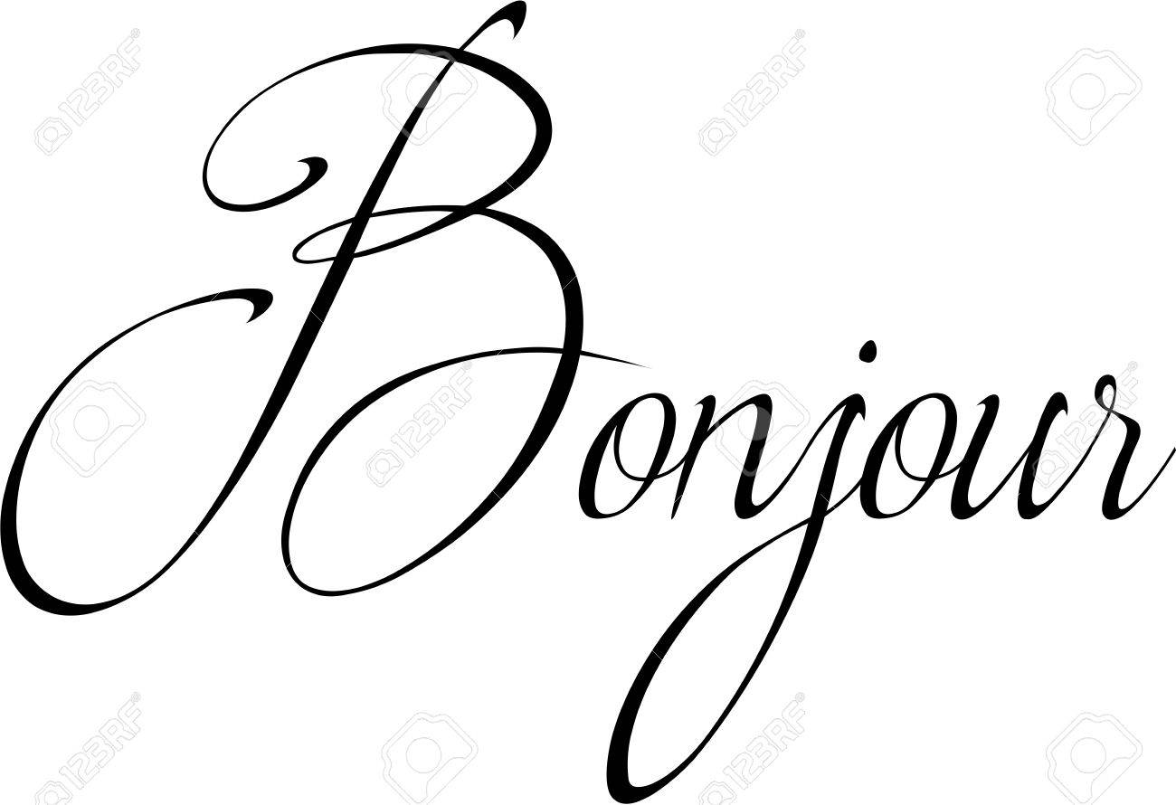 Bonjour text sign illustration » Clipart Station.