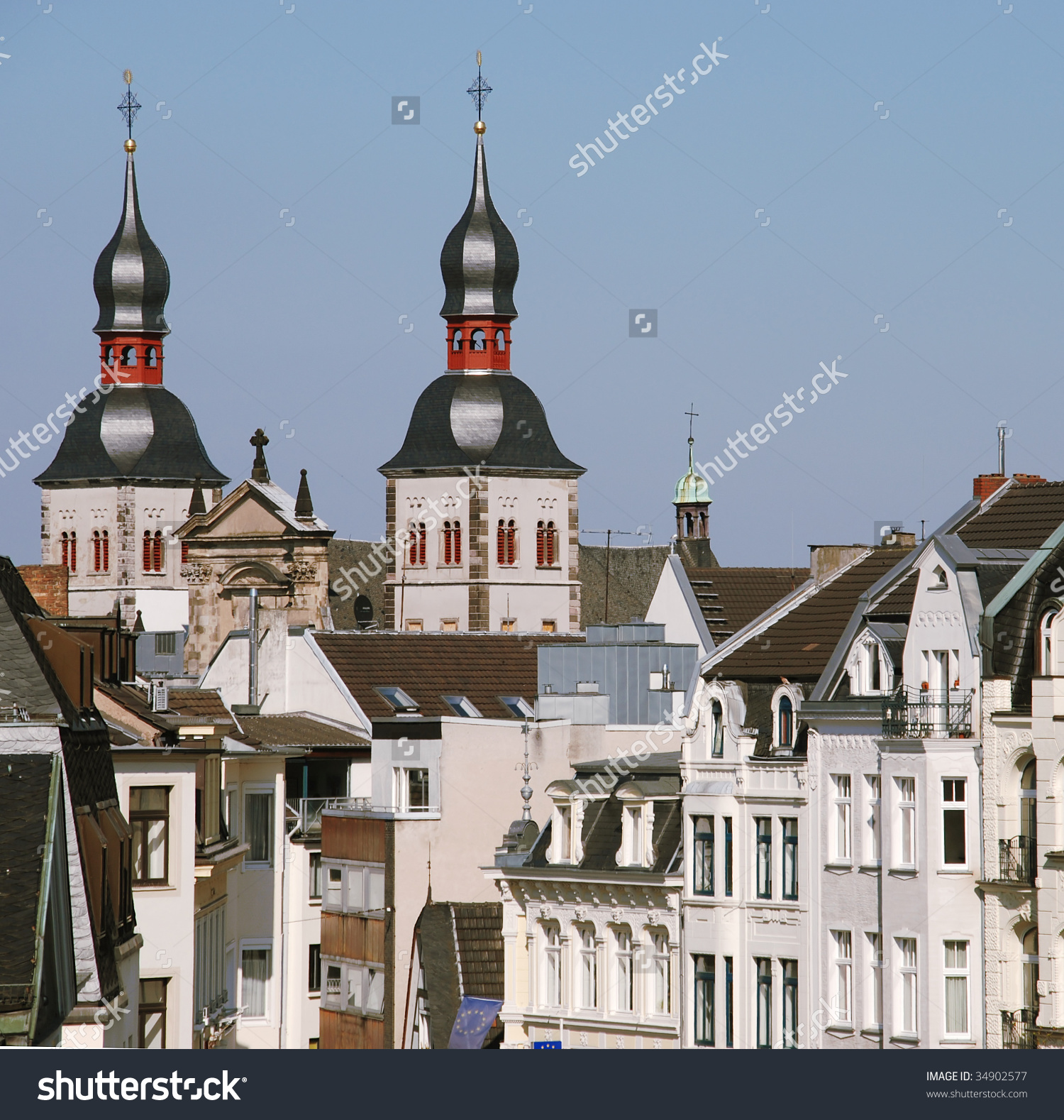 Old City Buildings In The Center Of Bonn, Germany Stock Photo.