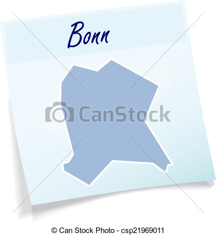Vector Clip Art of Map of Bonn as sticky note in blue csp21969011.