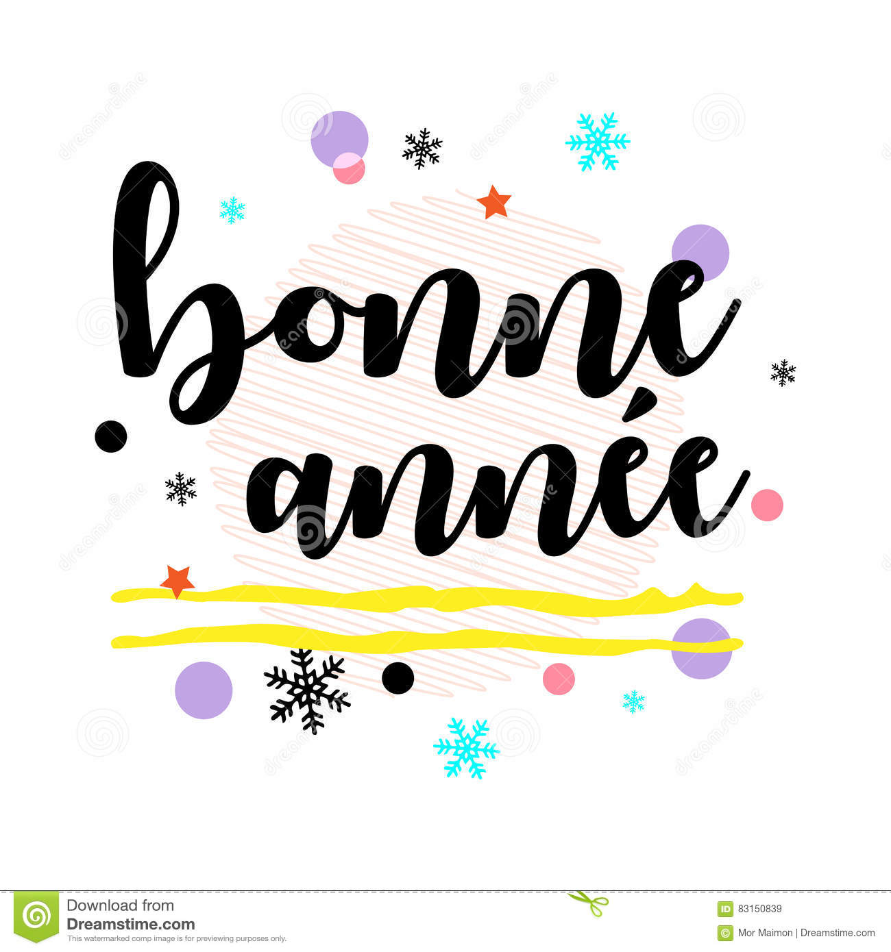 Bonne Annee. Happy New Year French Greeting. Black Typographic.