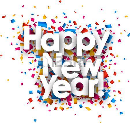 bonne année: Bonne année avec des confettis de couleur. Vector.