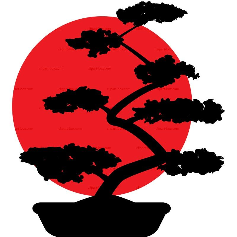 Bonsai Tree Silhouette Clip Art.