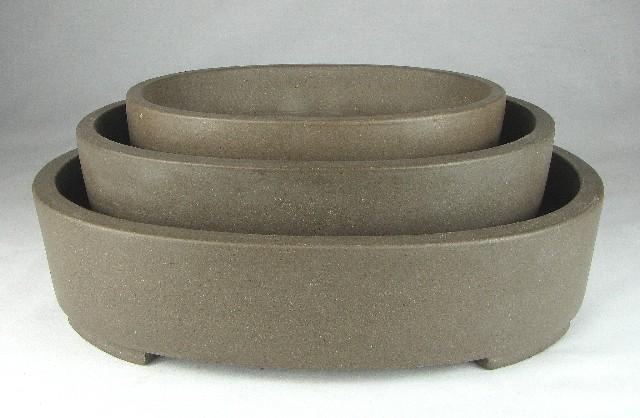 7 Oval Unglazed Bonsai Pots.