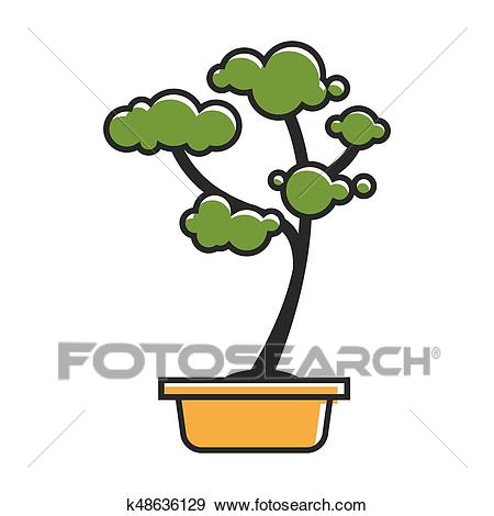 Traditional bonsai tree Clip Art.