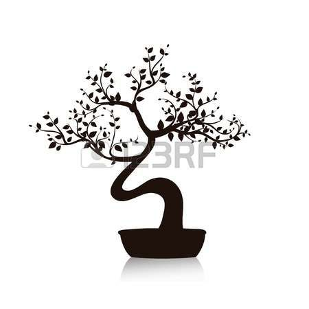 bent tree: Vector bonsai tree in a pot black and white.