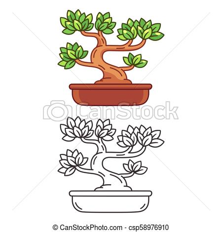 Cartoon Bonsai tree.