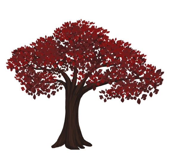 Red Bonsai Tree Digital Clip Art Vector and PNG.