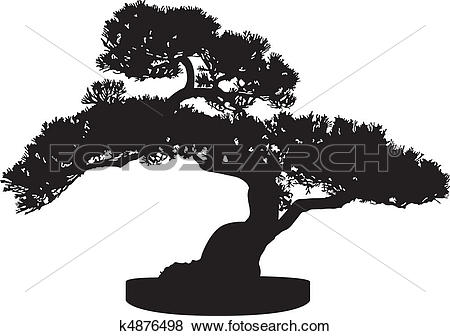 Clip Art of Bonsai Tree Silhouette k4876498.
