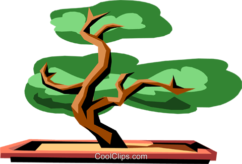 Bonsai tree Royalty Free Vector Clip Art illustration.
