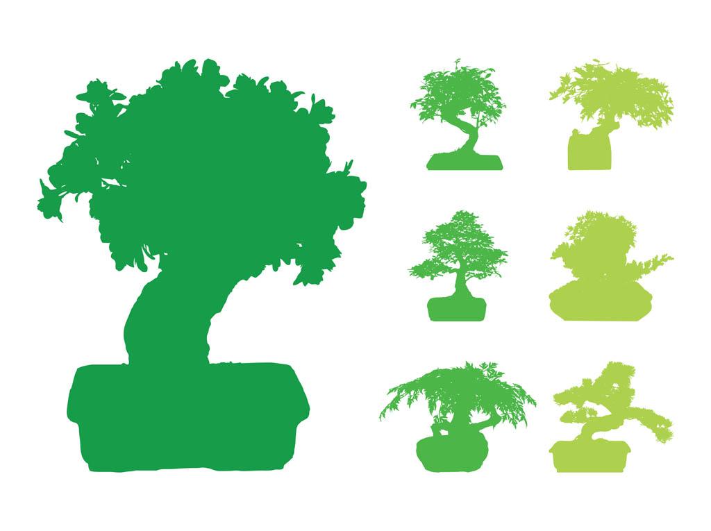 Bonsai Trees Silhouettes Vector Art & Graphics.