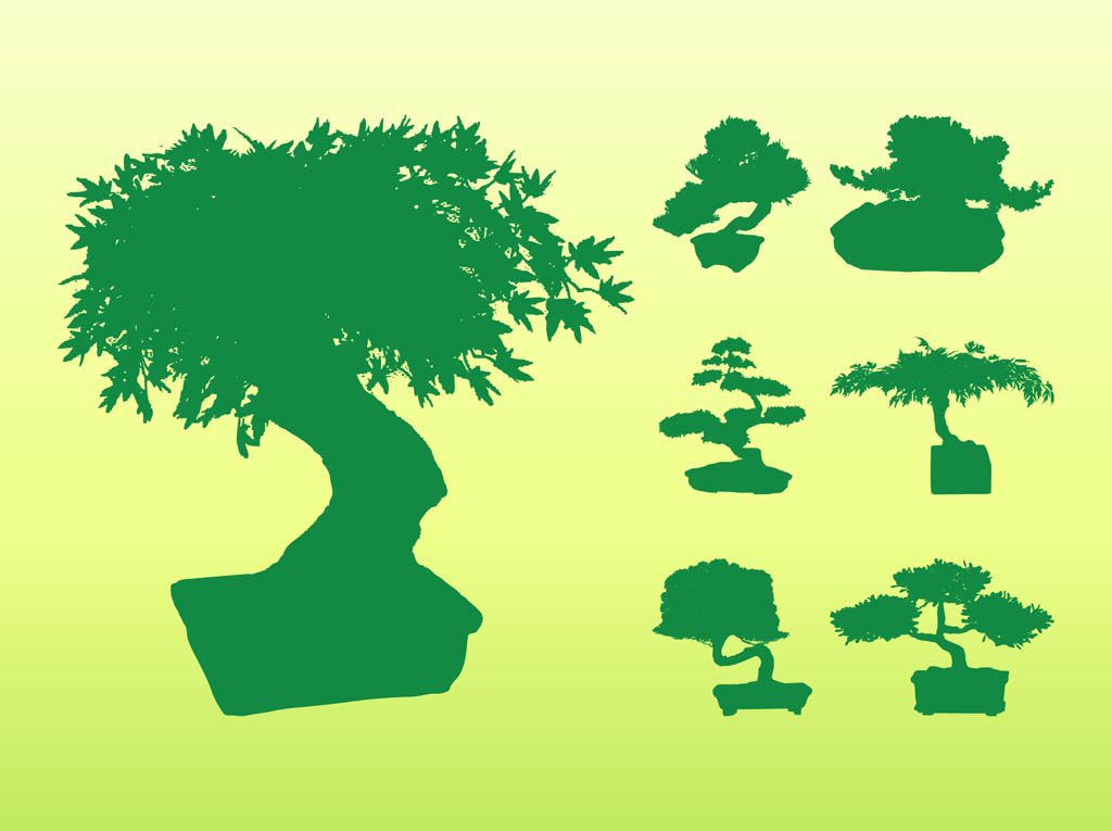 Bonsai Tree Silhouettes Vector Art & Graphics.