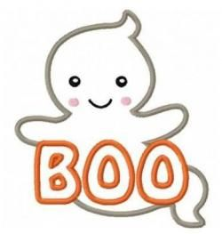Ghost applique machine embroidery. Boo clipart halloween boo.