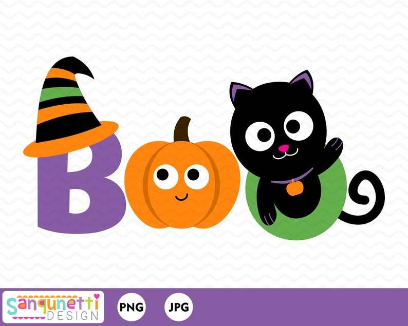 Boo halloween clipart, Ghost and witch digital art letteirng, instant  download.
