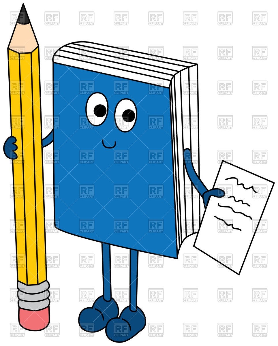 Cartoon illustration of a book holding pencil and paper Stock Vector Image.