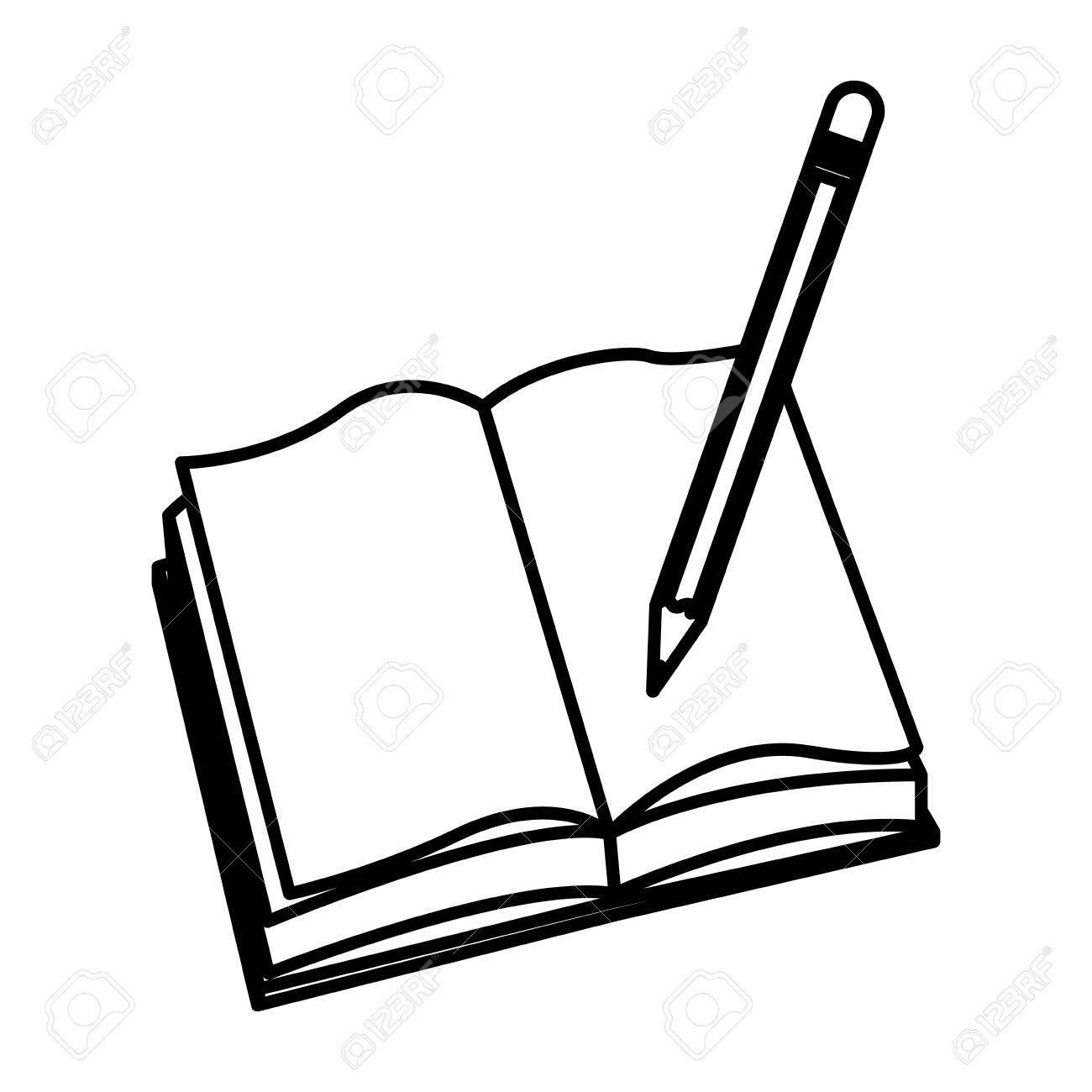 open book pencil write school image vector illustration.