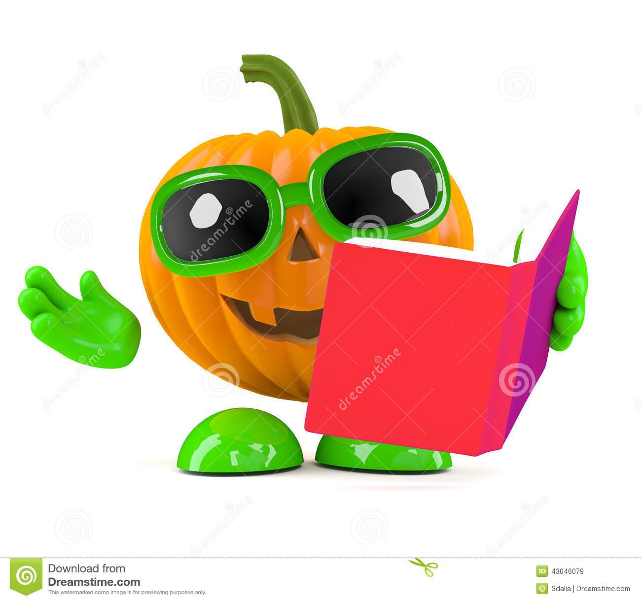 3d Pumpkin Man Reads A Book Stock Illustration.