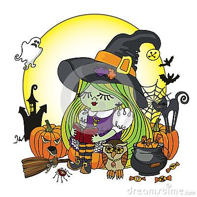 Halloween Witch Girl Reading Book.Moon,pumpkin,cat Stock Vector.