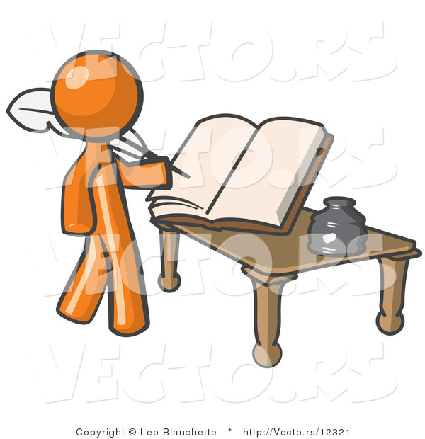 Vector of Orange Guy Author Writing History on Blank Pages of a.