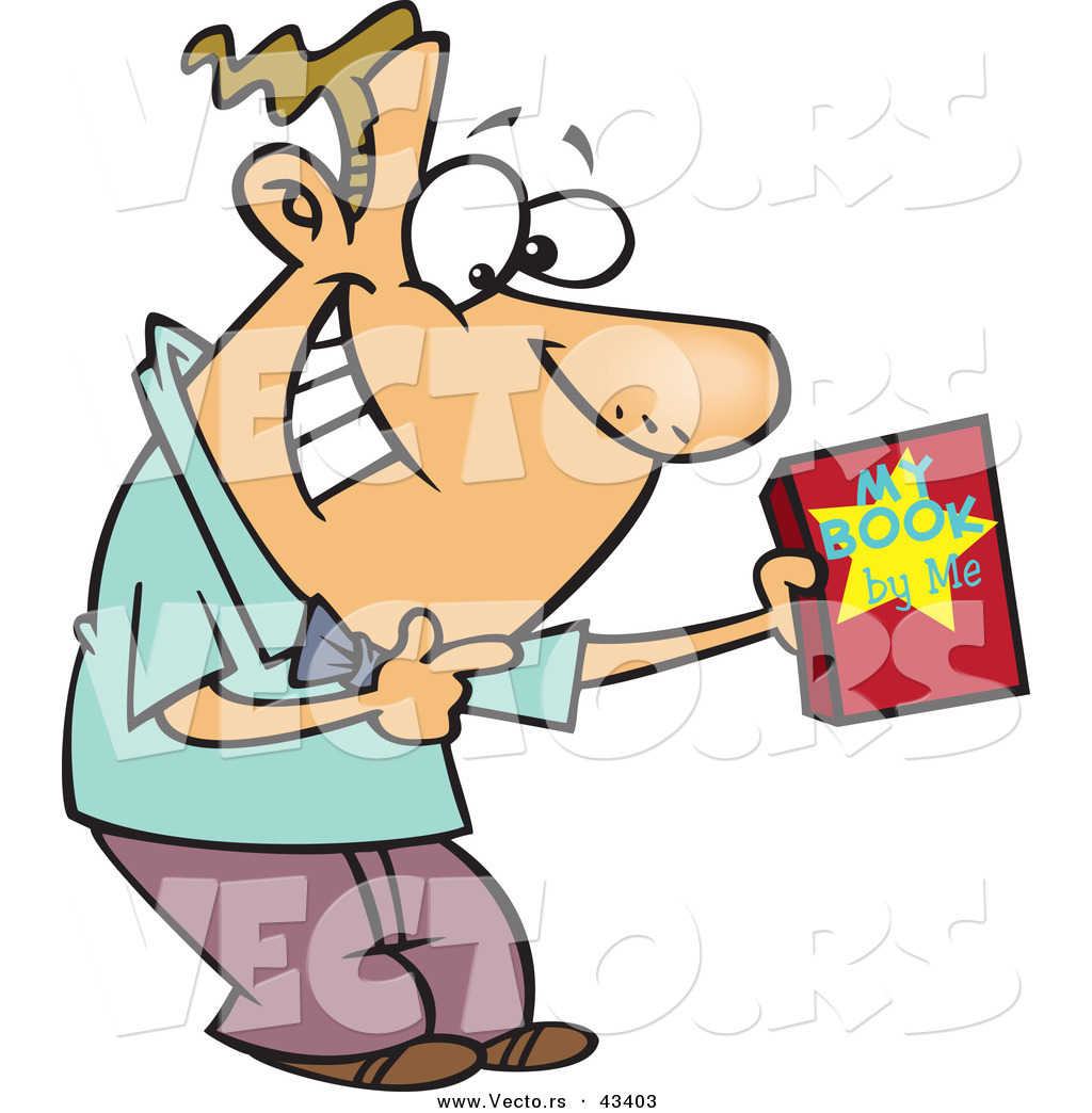 Vector of a Happy Cartoon Male Author Recommending His Book by Ron.