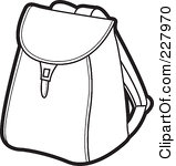 Bookbag Clipart Black And White.