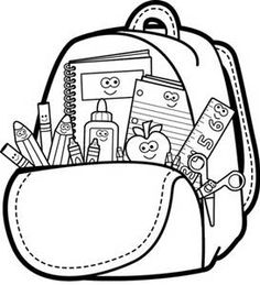 Book Bag Black And White Clipart.