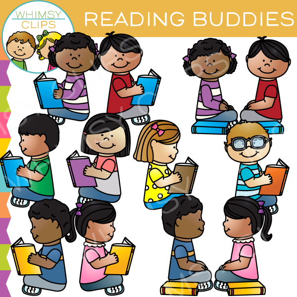 Reading Buddies Clip Art , Image Illustrations.