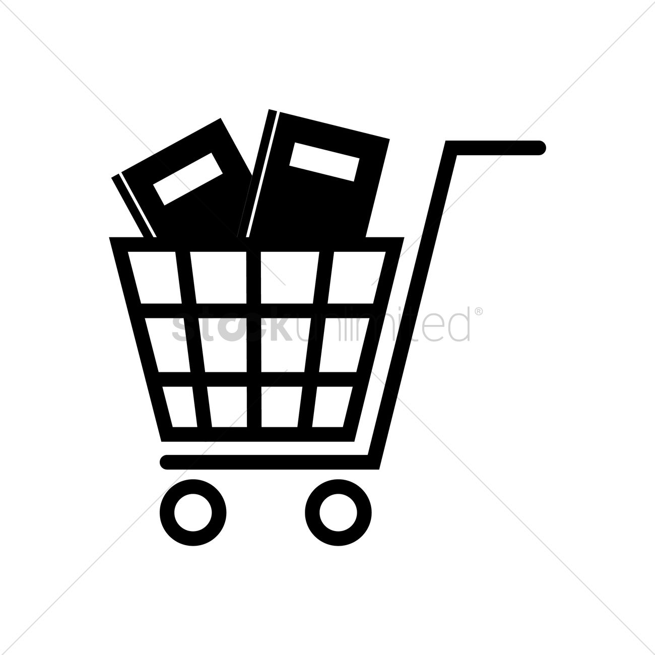 Books in cart icon Vector Image.