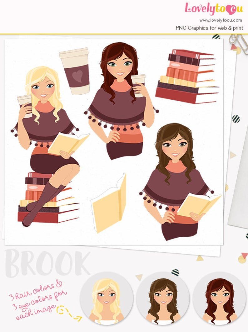 Autumn woman coffee character clipart, book club reading, fall poncho, boho  style, java to go cup, blonde, brunette, auburn (Brook L285).