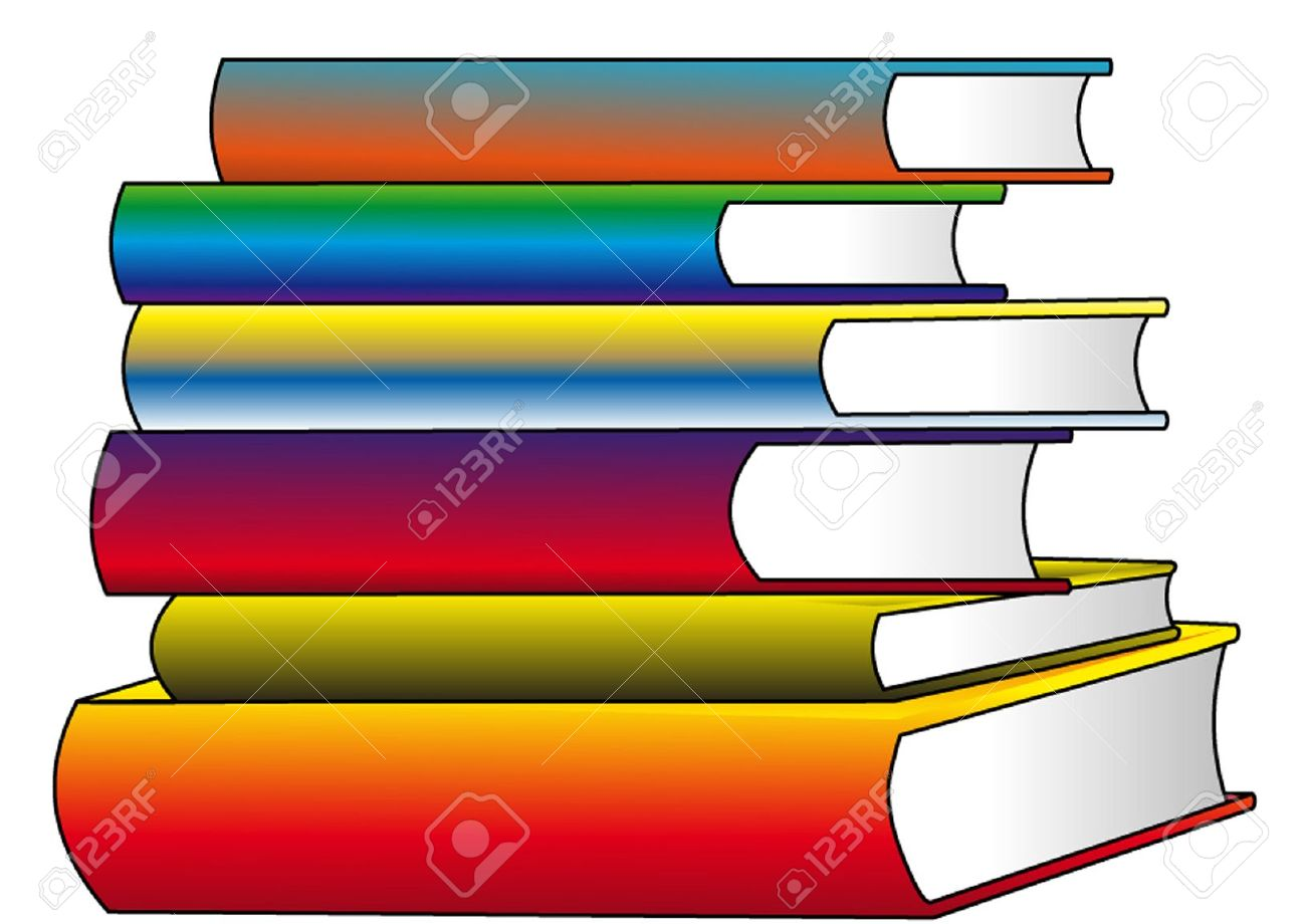 The Pile Of The Color Books, Insulated On White. Royalty Free.