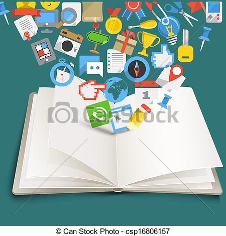 Clipart Vector of Open book with different color icons.