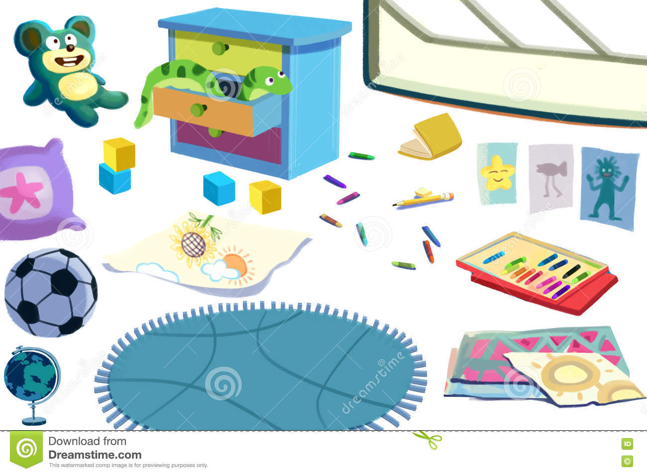 Clip Art Set: The Kid Room Objects: Toys, Football, Book, Color.